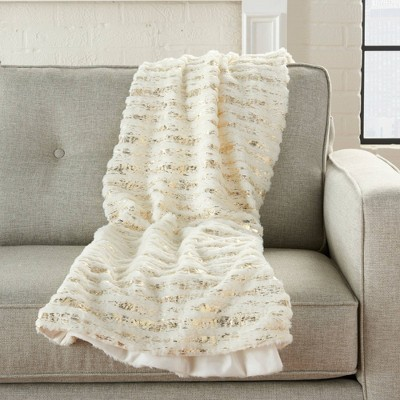 Fur Foil Stripes Faux Fur Throw Blanket Ivory Gold - Mina Victory