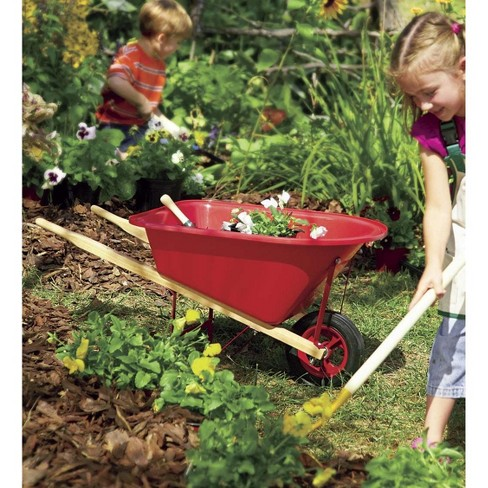 Kid's Garden Wheelbarrow With Wood Handles, Steel Braces And Solid Tire - Hearthsong - image 1 of 2