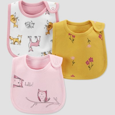 Baby Girls' 3pk Woodland Bib - Just One You® made by carter's Pink/Gold