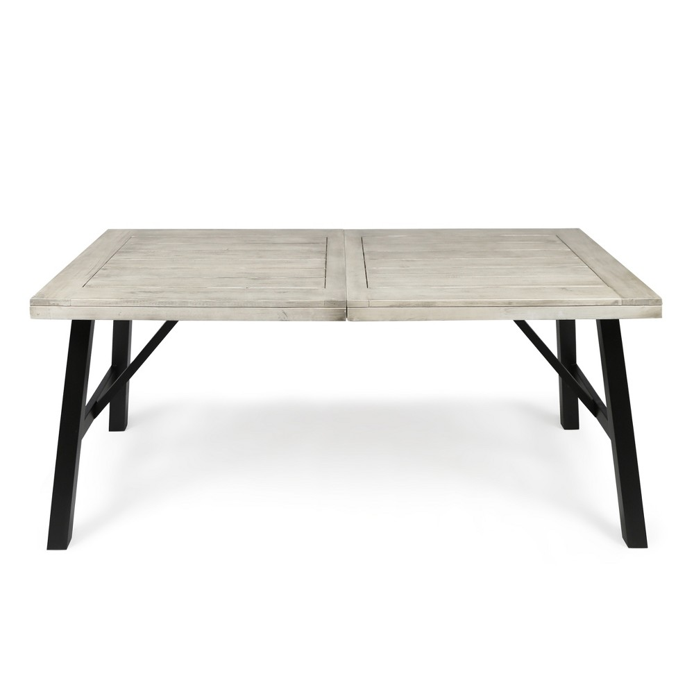 Borocay Rectangle Acacia Dining Table - Light Gray - Christopher Knight Home