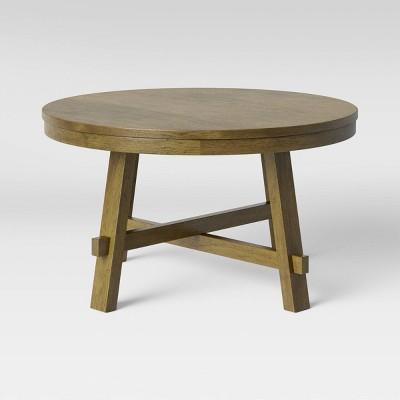 Edonton Round Wood Farmhouse Coffee Table Brown - Threshold™
