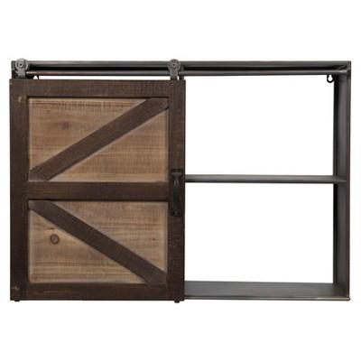"27.8"" x 20.1"" Farmhouse Sliding Barn Door Storage Cabinet Shelf Brown - Gallery Solutions"