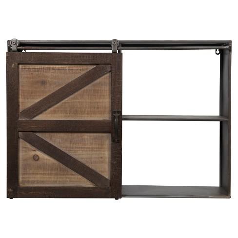 27 8 X 20 1 Farmhouse Sliding Barn Door Storage Cabinet Shelf Brown Gallery Solutions Target