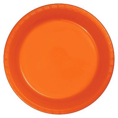 """Sunkissed Orange Plastic 7"""" Dessert Plates - 20ct"""
