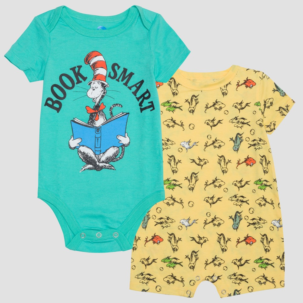Baby Boys' Dr. Seuss 2pk Short Sleeve Bodysuits - Yellow/Aqua 12M, Blue Yellow