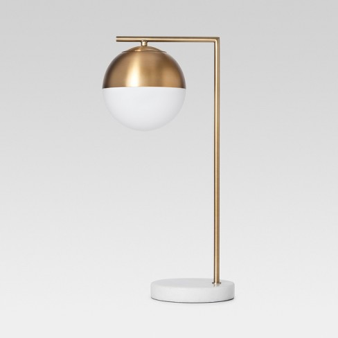 Geneva Glass Globe with Marble Base Task Lamp Brass - Project 62™ - image 1 of 4