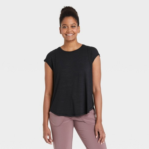 Women's Wrap Front Short Sleeve Top - All in Motion™ - image 1 of 4
