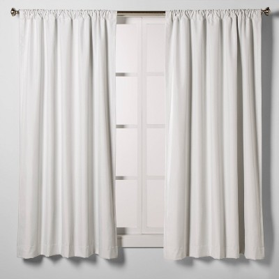 "63""x42"" Heathered Thermal Room Darkening Curtain Panel White - Room Essentials™"