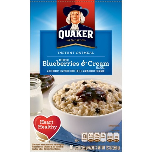 Quaker Instant Oatmeal Blueberries & Cream - 10ct/12.3oz - image 1 of 5
