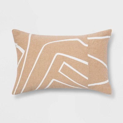 Lumbar Printed Pieced Pillow Neutral/White - Project 62™