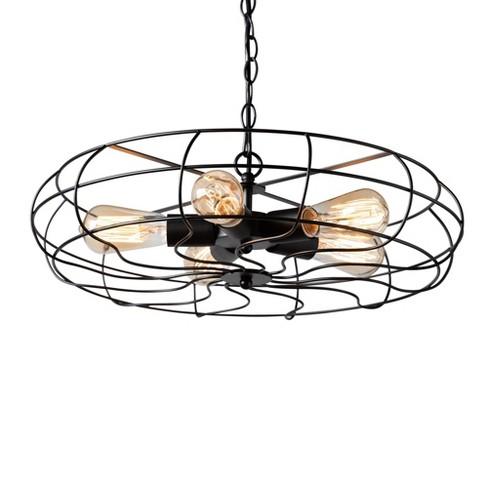 Jisa Metal Cage Fan Light Pendant Black - Baxton Studio - image 1 of 3