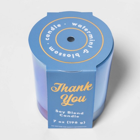 7oz Iridescent Glass Jar 'Thank You' Watermint and Blossom Candle - Opalhouse™ - image 1 of 2