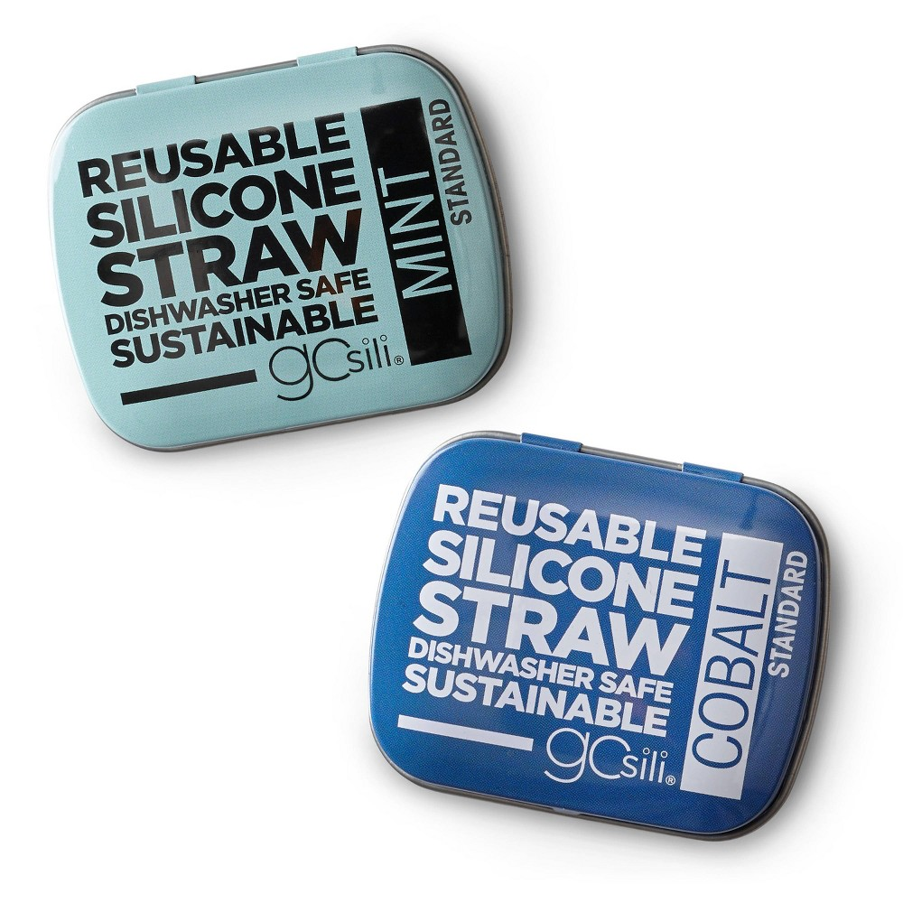 Image of GoSili 2pk Reusable Standard Straw Tins Cobalt/Mint