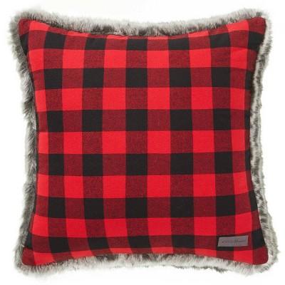 Cabin Plaid Faux Fur Red Square Throw Pillow - Eddie Bauer