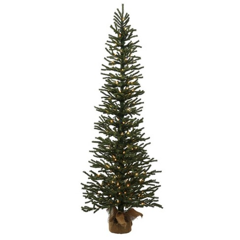 3ft pre lit artificial christmas tree slim mini pine with 50 warm white led lights