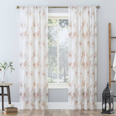 Sura Floral Watercolor Sheer Rod Pocket Curtain Panel - No. 918