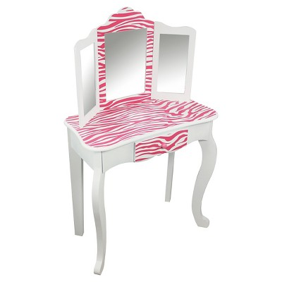 Bon Kids Vanity Table And Stool Set Wood/Zebra   Teamson : Target