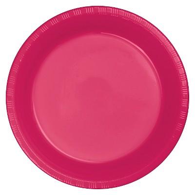 "Hot Magenta Pink Plastic 7"" Dessert Plates - 20ct"
