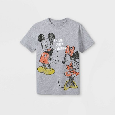 Girls' Disney Mickey & Minnie Short Sleeve Graphic T-Shirt - Heather Gray - Disney Store