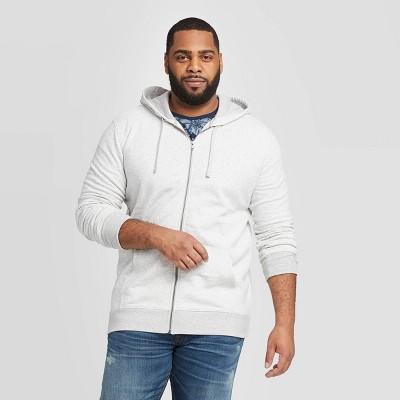 Men's Big & Tall Regular Fit Fleece Full Zip Hoodie - Goodfellow & Co™ Gray