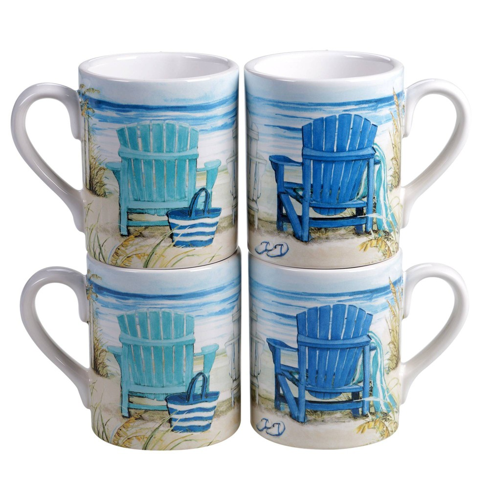Image of 15oz 4pk Earthenware By The Sea Mugs - Certified International