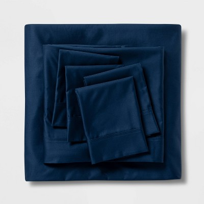 Queen 6pc 800 Thread Count Solid Sheet Set Indigo - Threshold Signature™