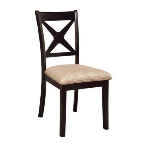 Set of 2 Transitional Side Chairs Dark Oak/Black - Benzara - image 1 of 4