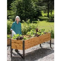 "Gardener's Supply 2 Ft x 8 Ft Raised Garden Bed Elevated Cedar Planter Box Standing Garden (24"" x 96"") - Gardener's Supply Company"