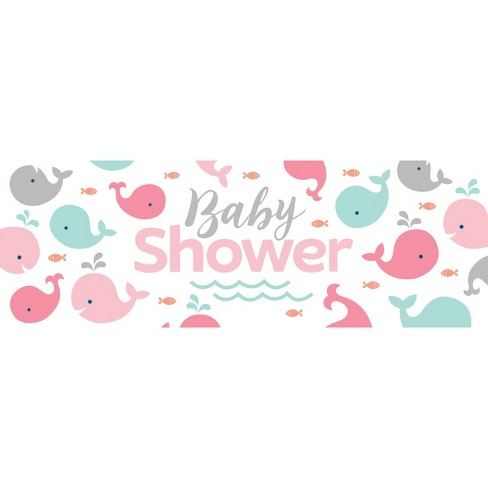 Pink Baby Whale Giant Baby Shower Banner Target