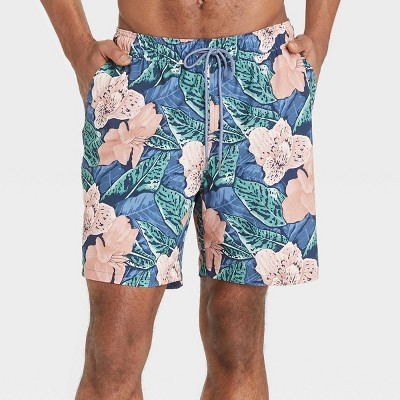 "Men's 7"" Tropical with Liner Hybrid Swim Trunks - Goodfellow & Co™ Pink"