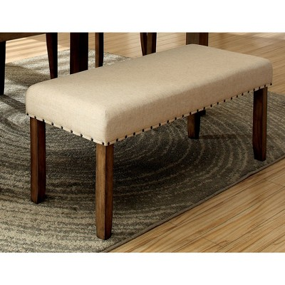 Sun U0026 Pine Nail Head Trim Fabric Padded Dining Bench Wood/Natural Tone