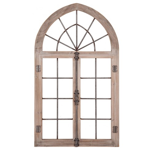 """53""""x28"""" Distressed Arched Cathedral Window Frame Wall Gray - Patton Wall Decor - image 1 of 4"""