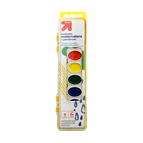 Watercolor Paints with Brush Washable 8 Colors (Compare to Crayola® Washable Watercolors) - Up&Up™ - image 1 of 2