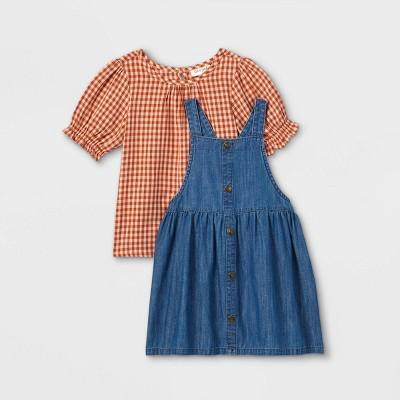 Toddler Girls' Plaid Top & Chambray Skirtall Set - Cat & Jack™ Orange/Blue