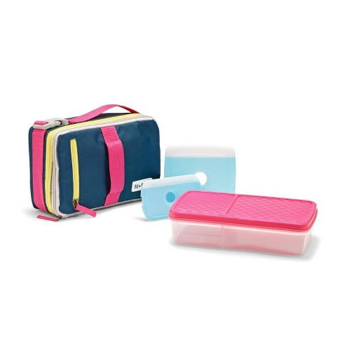 Fit Fresh Expandable Bento Lunch Bag Set Pink Yellow