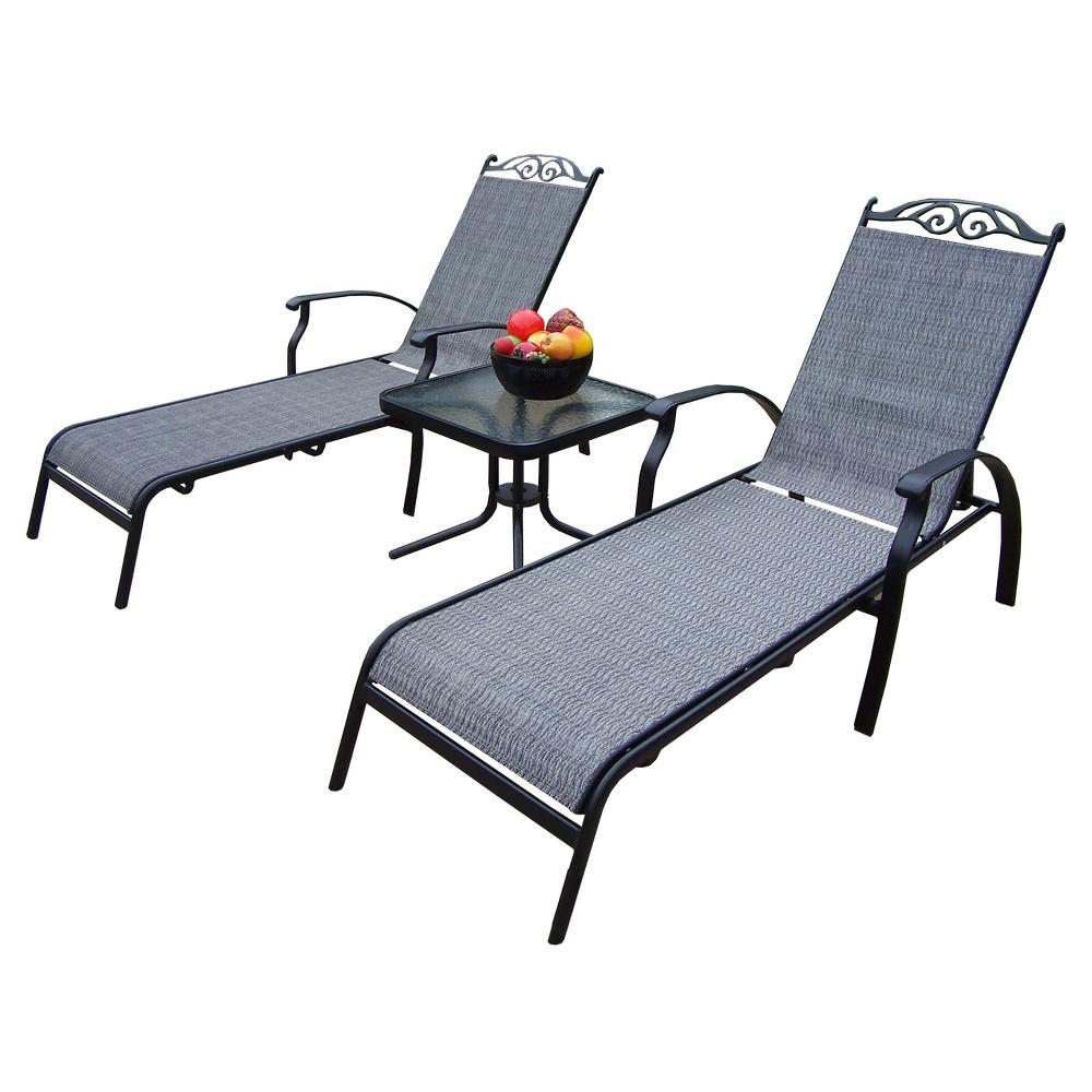 Cascade 3-Piece Sling Patio Conversation Furniture Set - Black