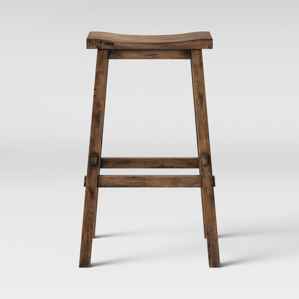 Halifax Farmhouse Wood Counter Stool Brown - Threshold