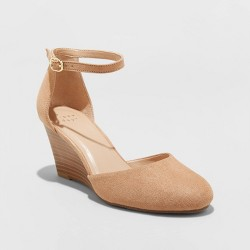 Women's Wendi Microsuede Rounded Toe Wedge Pumps - A New Day™