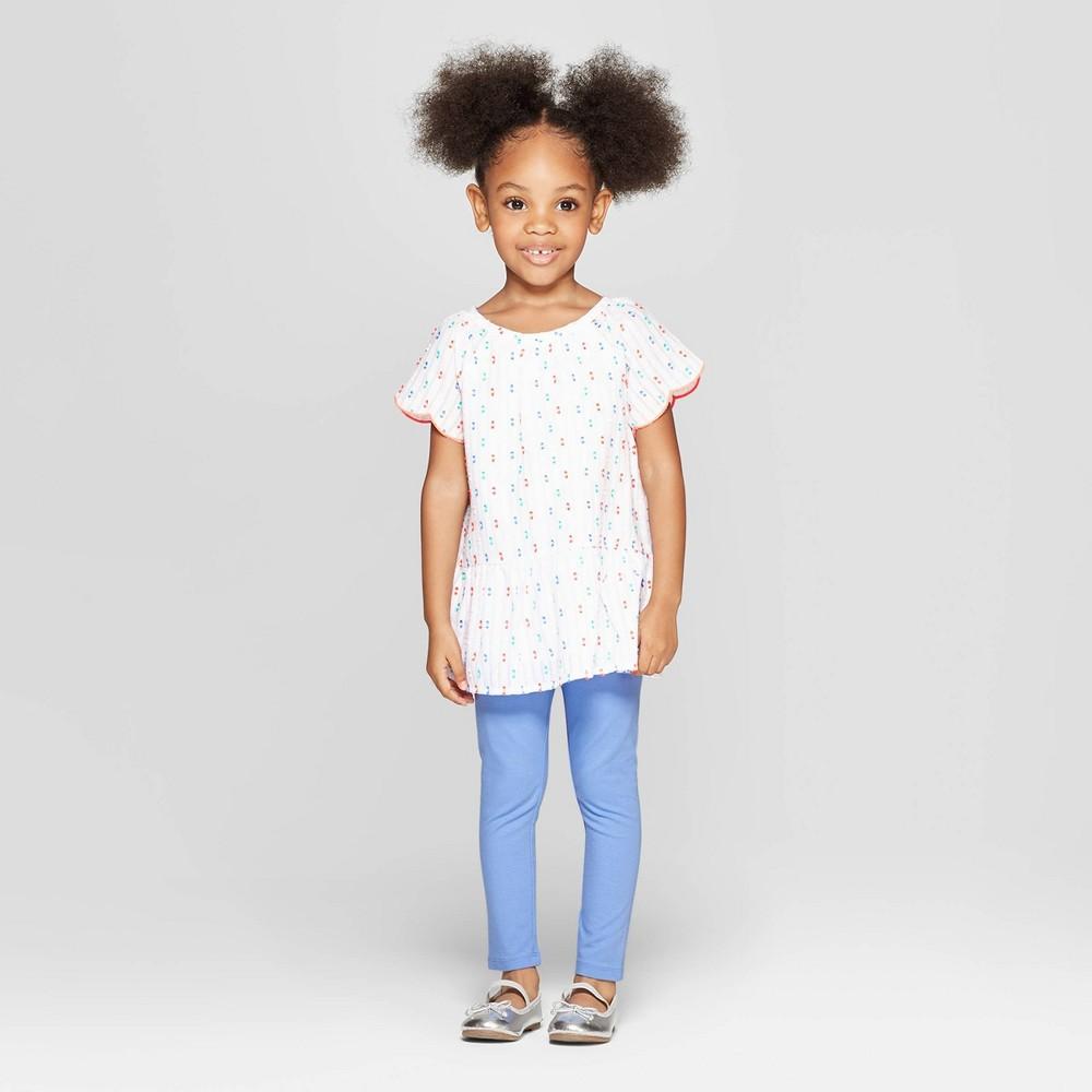 Toddler Girls' Denim Top and Bottom Set - Cat & Jack White/Blue 3T