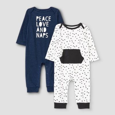 Baby Boys' 2pk 'Peace' Long Sleeve Romper - Cat & Jack™ Blue 3-6M