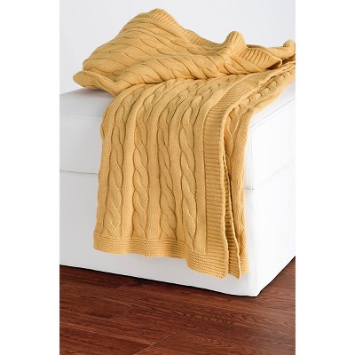 Yellow Cable Knit Throw - Rizzy Home