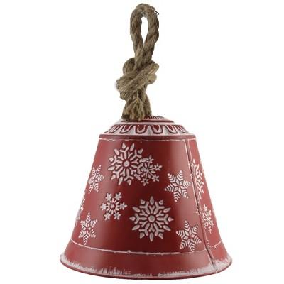 "Christmas 8.0"" Snowflake Bell 8 Inch Jute Hanger Metal  -  Decorative Figurines"
