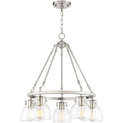 """Possini Euro Design Brushed Nickel Wagon Wheel Pendant Chandelier 24"""" Wide Modern Clear Glass Shades 5-Light Fixture Dining Room"""