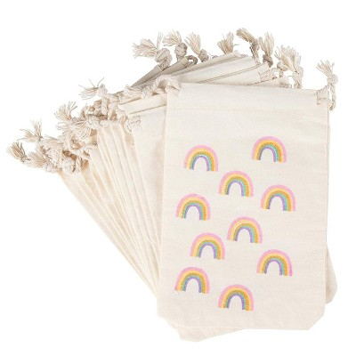 12-Pack Pride Rainbow Gold Glitter Party Mini Canvas Drawstring Bag Treat Gift Pouches
