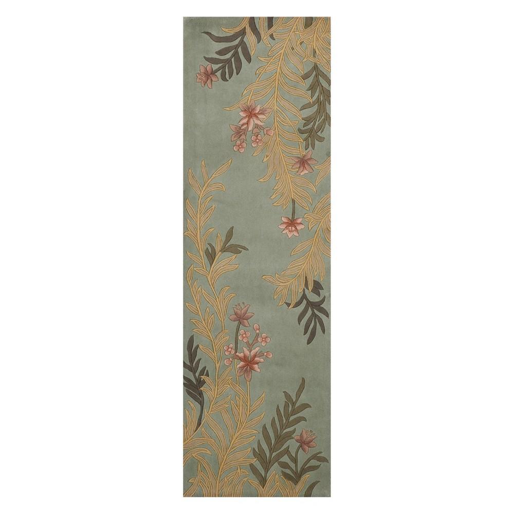 2'6X12' Floral Tufted Runner Sage - Momeni, Brown