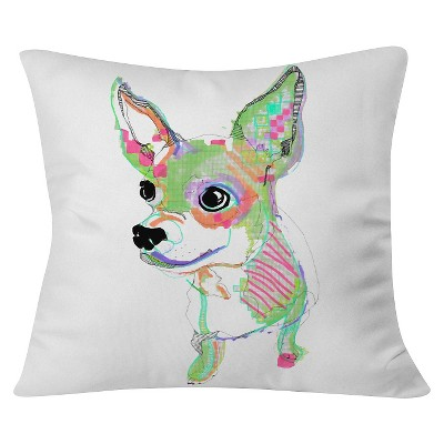 White Casey Rogers Chihuahua Throw Pillow (20 x20 )- Deny Designs®