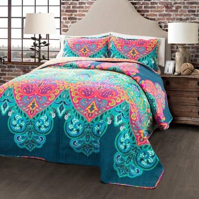 Boho Chic Quilt Set Turquoise/Navy - Lush Décor