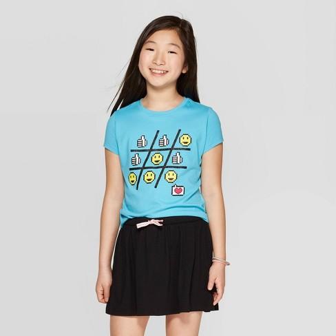 Girls' Short Sleeve Emoji Tic Tac Toe Graphic T-Shirt - Cat & Jack™ Blue - image 1 of 3