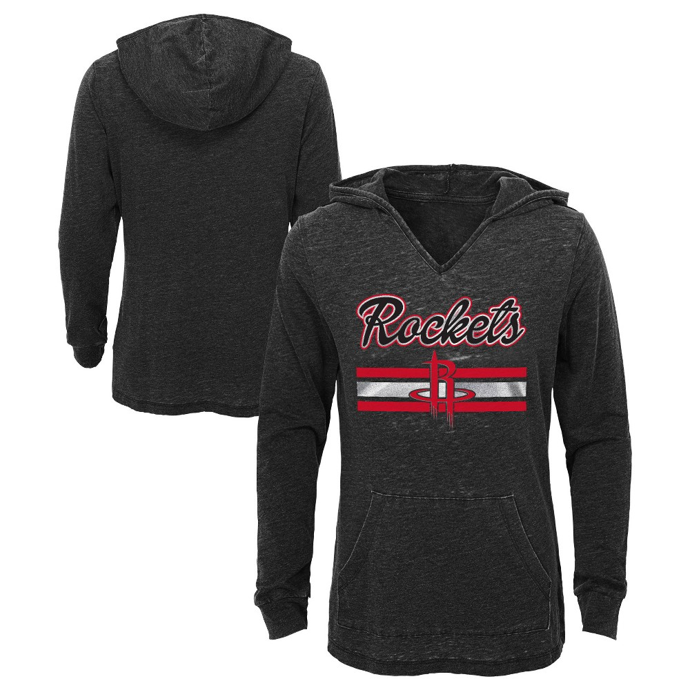 Houston Rockets Girls' Top of the Key Gray Burnout Hoodie S, Multicolored