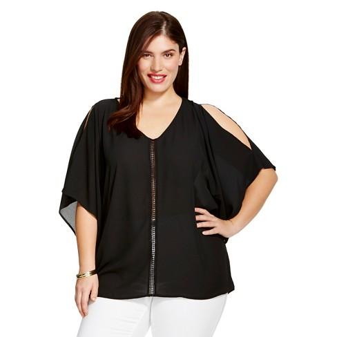 a871b3f2343 Women s Plus Size Cold Shoulder Top - Ava   Viv™ - Black 4X   Target